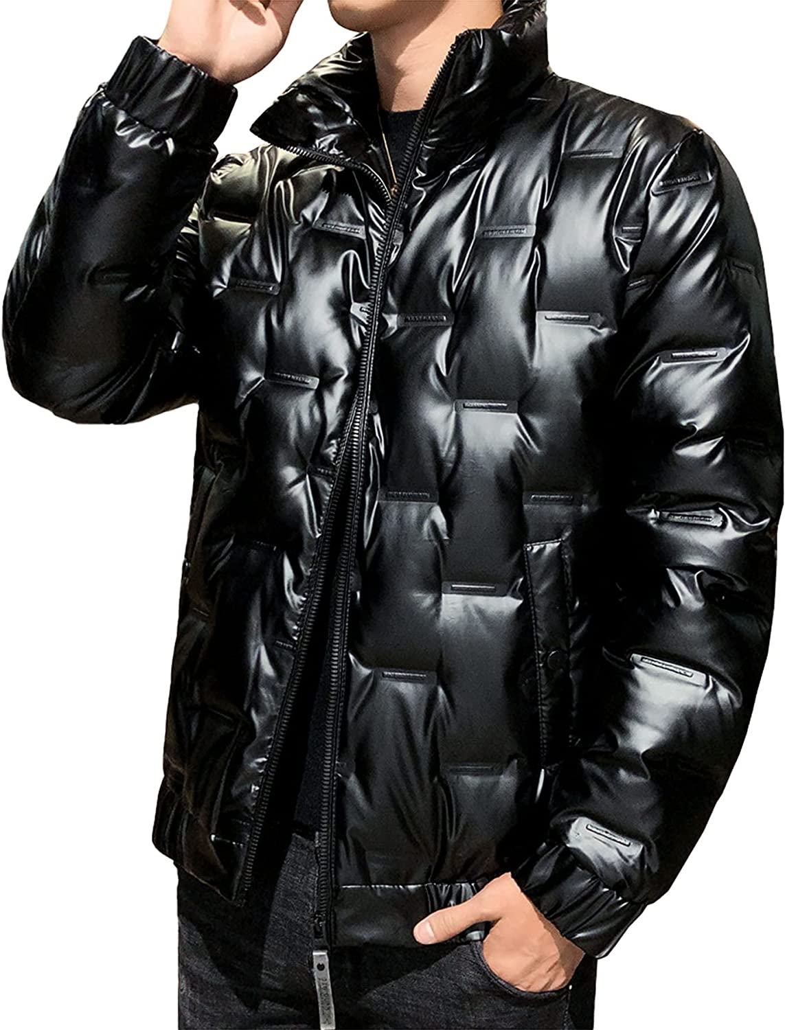 Men's Stand Collar Down Jacket Lightweight Puffer Jacket Water Resistant Warm Winter Snow Cargo Coat with Pockets