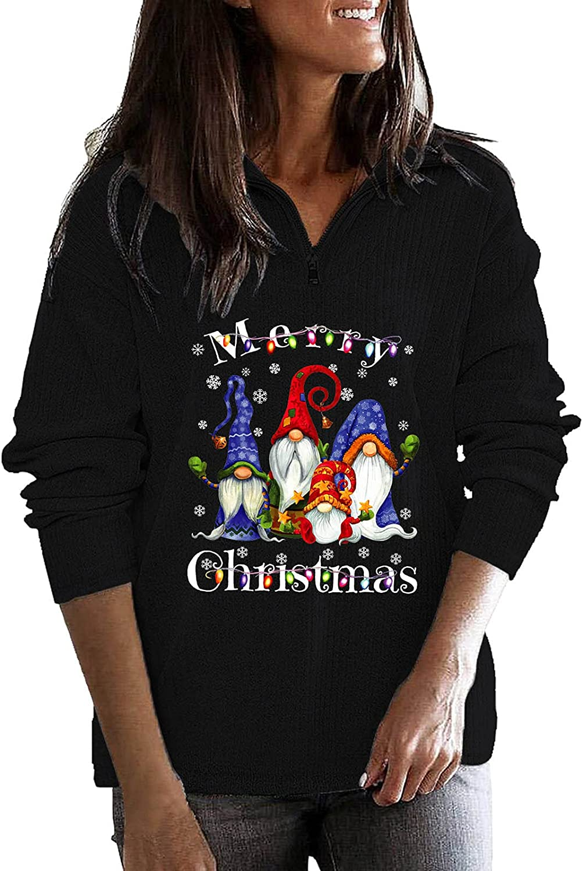 Christmas Graphic Sweatshirt for Women Fashion Zipper Stand Up C