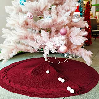 yacn Christmas Tree Skirt, 48 inches Red Pure Knitted High-end Christmas Tree Skirt Christmas Holiday Home Party Decorations Ornaments