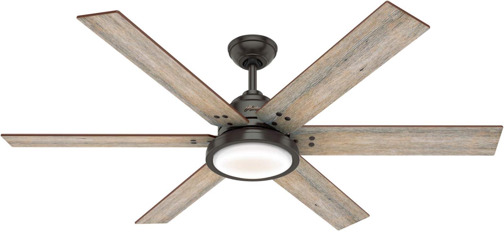 "Hunter Warrant Indoor Ceiling Fan with LED Light, 60"", Nobel Bronze"