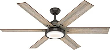 Hunter Fan Company Hunter 59461 Contemporary Modern 60`` Ceiling Fan with Light from Warrant collection in Bronze/Dark finish, See Image