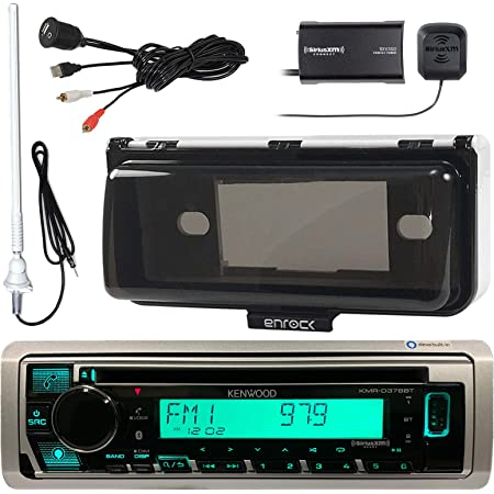 """Kenwood Single DIN Marine Boat Audio Bluetooth CD Player Receiver Bundle Combo with White Waterproof Protective Cover, Enrock USB/AUX to RCA Cable, Satellite Radio Tuner, 45"""" Radio Antenna Mast"""