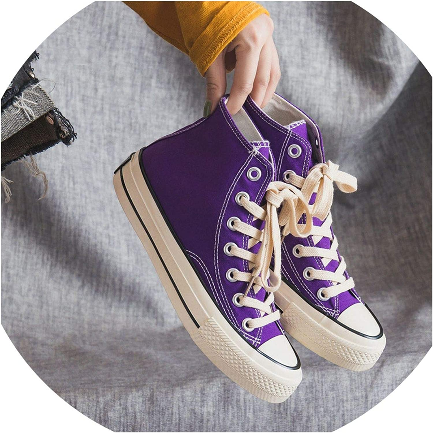 Women shoes Casual Flats Solid Canvas Classic Solid color High Top Women Casual shoes Sneakers