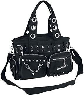 Lost Queen Goth Punk Rock Black Military Belt Purse with Handcuff Skull Charm