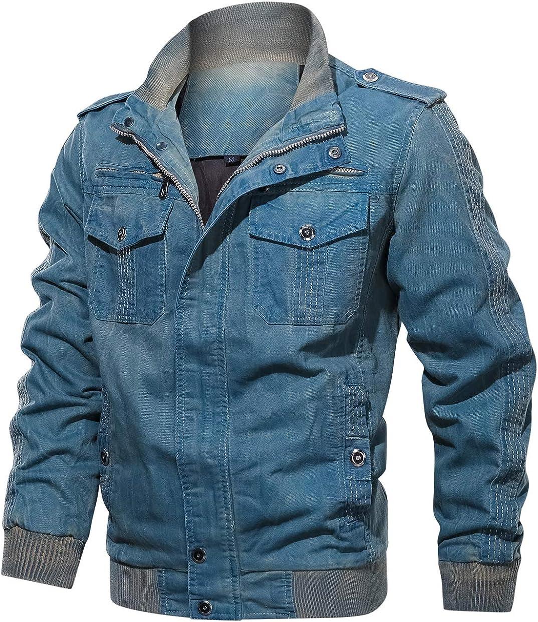 chouyatou Men's Stylish Zipper Regular Workwear Dyed Twill Windbreaker Bomber Jacket