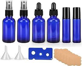 9 Pack Refillable Glass Bottles Kits, Blue Glass Spray Bottles with Fine Mist Sprayer & Dust Cap, Glass Roller Bottles,Gla...