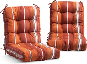 EAGLE PEAK Tufted Outdoor/Indoor Seat/Back Chair Cushion, Set of 2, 42'' x 21'', Red Stripes