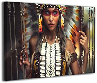 Arnold Glenn Nativity Native American Headdress American Indians Canvas Wall Art Prints Picture Contemporary Paintings Home Decoration Giclee Artwork Wood Frame Gallery Wrapped (White, 16