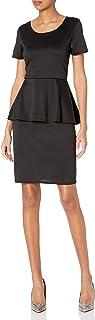 Star Vixen Women's Petite Ss Classic Str Peplum Dress