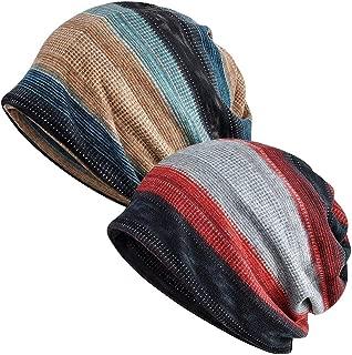 Slouchy Beanie for Men/Women 2-Pack Baggy Skull Cap Winter Knit Ponytail Hat Multipurpose Neck Loop Scarf