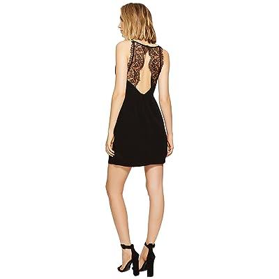 kensie Texture Crepe Dress with Lace Back KS6K7993 (Black) Women