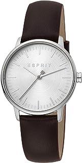 ساعة انالوج للاستخدام اليومي للنساء من اسبريت بمينا باللون الفضي وسوار من الجلد طراز ES1L154L0015