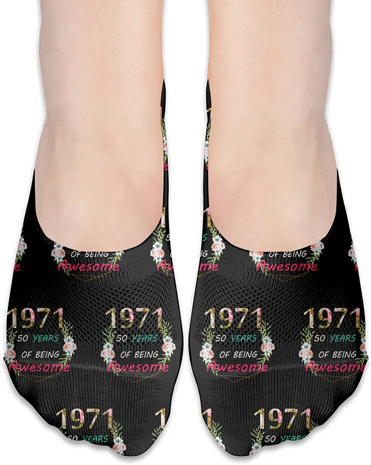 80th Bday Party 1971 - 50th Women'S Mother Birthday Gift No Show Socks Adult Short Socks Athletic Casual Crew Socks