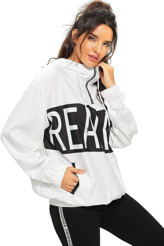 ROMWE Women's Letter Print Drawstring Quarter Zipper Side Pockets Casual Hoodie Sweatshirt Hooded Jacket