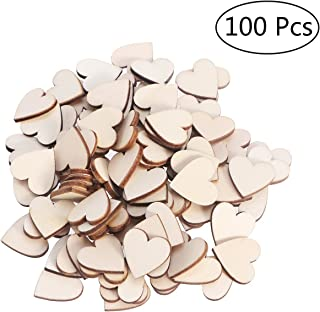 OULII Blank Heart Wood Slices Discs Wedding Christmas Ornaments, Pack of 100, 17mm
