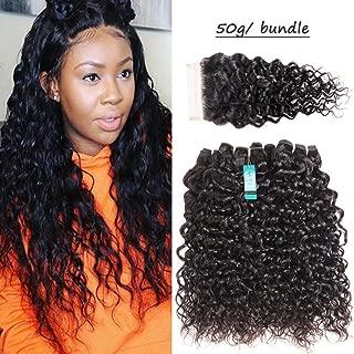 UDU 8A Grade Malaysian Water Wave 4 Bundles with Closure 50g/Bundle Virgin Curly Weave Human Hair 4 Bundles With 4x4 Lace Closure Free Part Remy Curly Weave Human Hair Weft Wet n Wavy