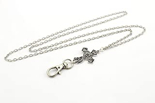 Women's Fashion Lanyard Necklace for ID Badge Holders 32 Inch w/Cross and No Rear Clasp