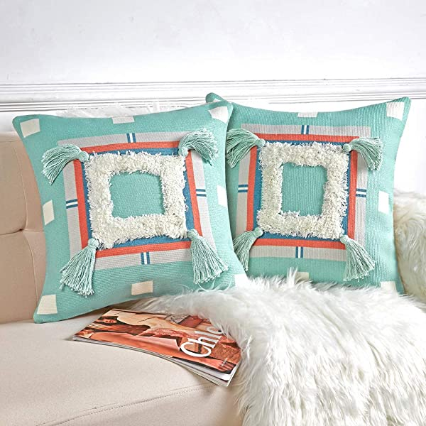 Anickal Boho Decorative Throw Pillow Covers Set Of 2 3D Modern Woven Tufted Square Cushion Cover With Cute Tassels 18x18 Inch For Couch Sofa Bedroom Living Room Decor