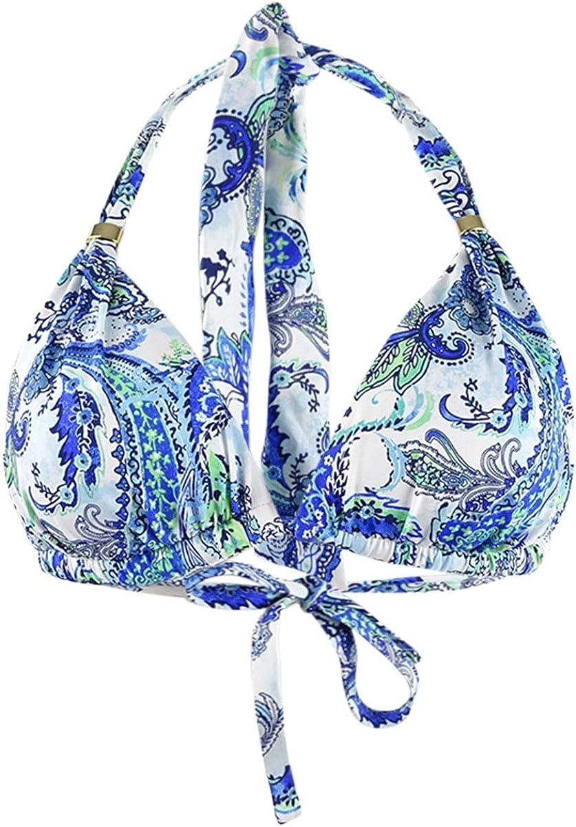 Ralph Lauren Fiesta Paisley Print Halter Bikini Top (Blue, 8)