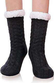 DYW Women's Slipper Socks Winter Thermal Fleece Lining Knit Fuzzy Cozy Non Slip Stockings