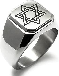 Stainless Steel Interlocking Hexagram Star of David Symbol Square Flat Top Biker Style Polished Ring