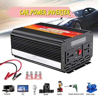 Dasuy 8000W Car Power Inverter, 12/24V DC to 110/220V AC Sine Wave Converter with Blade Fuses, Over Temperature and Over Load LED Indicator, Aluminum Case (Shipped from US) (Black)