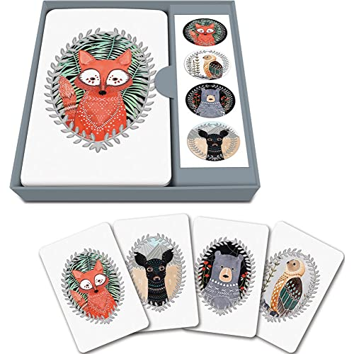 Studio Oh! Note Card and Sticker Set Available in 6 Designs, Marissa Redondo Woodland Creatures, Box of 12