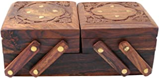 Wooden Folding Jewelry Box in Bulk - Handcrafted Wood 3 Drawer Jewelry Box/Trinket Box/Keepsake Box with Brass Inlay Motifs and Open-Work Carving Unique Flower Design