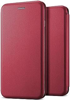 Microsonic Huawei P40 Lite Kılıf Ultra Slim Leather Design Flip Cover Bordo