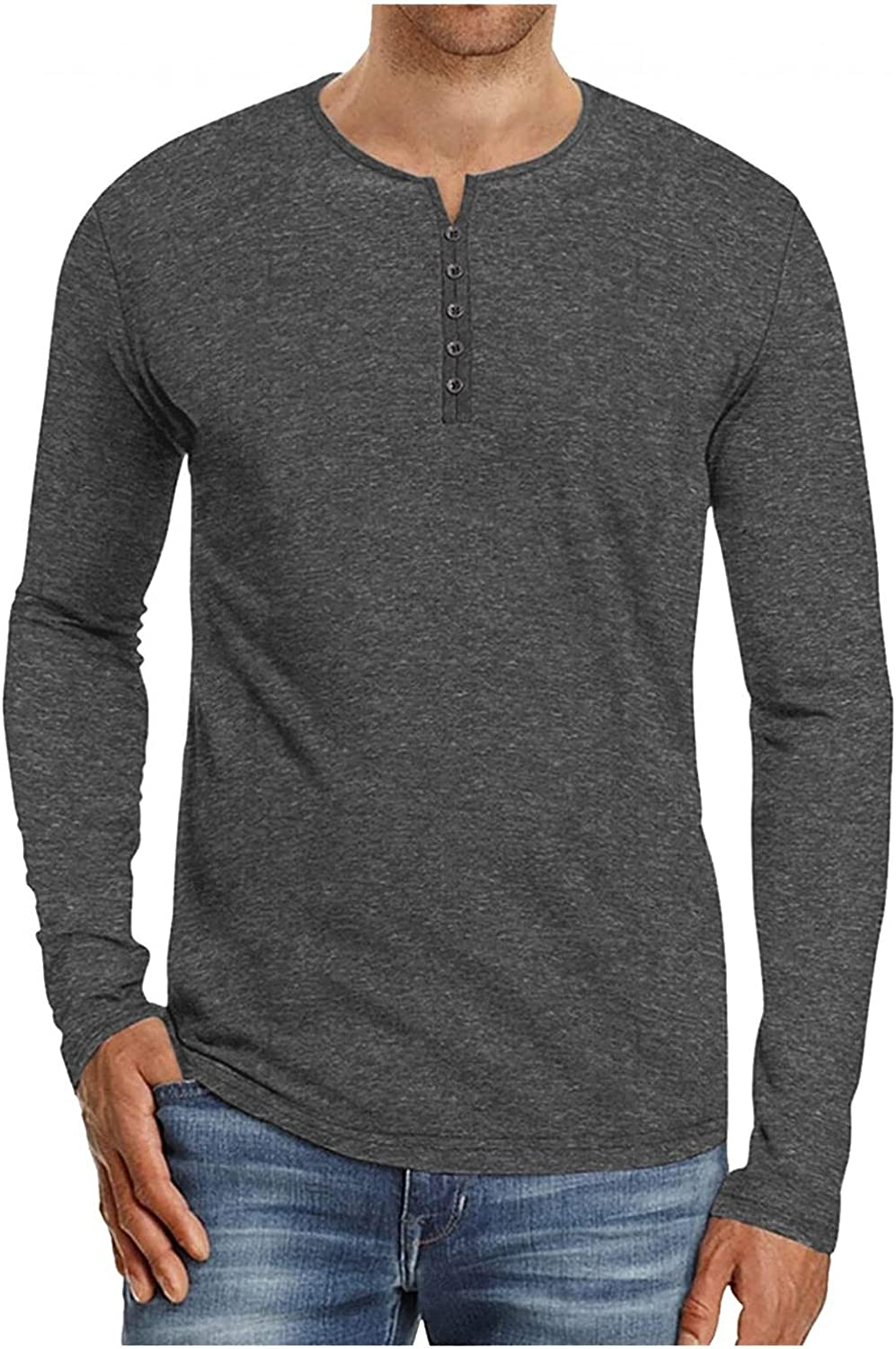 Burband Mens Casual Front Placket Basic Long Sleeve Henley T Shirts Slim Fit Lightweight Cotton Fashion Tops Big and Tall
