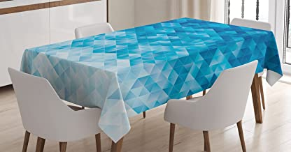 Ambesonne Geometric Tablecloth, Geometric Gradient Digital Texture with Mosaic Triangle Pixel Graphic Print Art, Dining Room Kitchen Rectangular Table Cover, 60