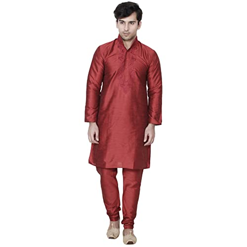 cd3fe21705 Maple Clothing Men s Embroidered Kurta Pajama Silk Indian Party Wear Dress