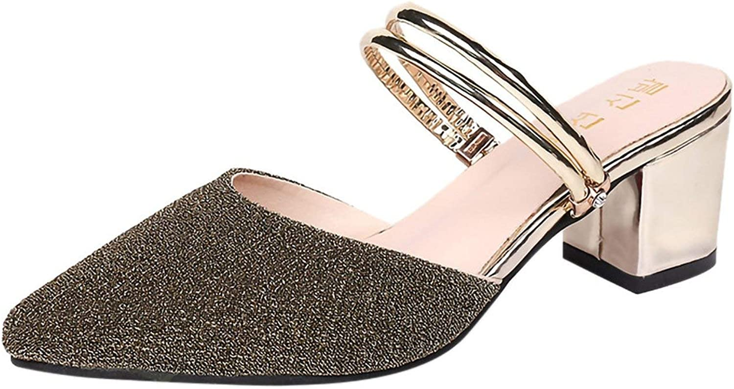 Summer Sandals Sequins Pointed shoes High Heel Slippers Casual Ladies' Sandals