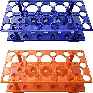 Test Tube Rack, Centrifuge Tube Holder (2 Pack - Blue and Orange) for 10ml, 15ml, 50ml, Detachable Plastic Stand, 28 Well
