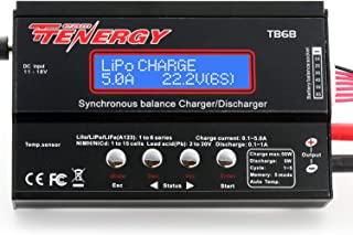 Tenergy TB6-B Balance Charger Discharger 1S-6S Digital Battery Pack Charger for NiMH/NiCD/Li-PO/Li-Fe Packs LCD Hobby Battery Charger w/ Tamiya/JST/EC3/HiTec/Deans Connectors + Power Supply 01435