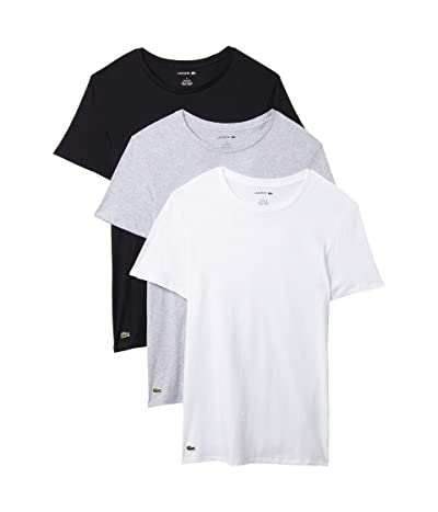 Lacoste 3-Pack Crew Neck Slim Fit Essential T-Shirt (White/Silver Grey Chine/Black) Men