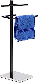 Relaxdays Handdoekstandaard met 2 handdoekstangen in U-vorm HBT 82 x 44 x 28 cm Handdoekhouder staand met vierkante bodemp...