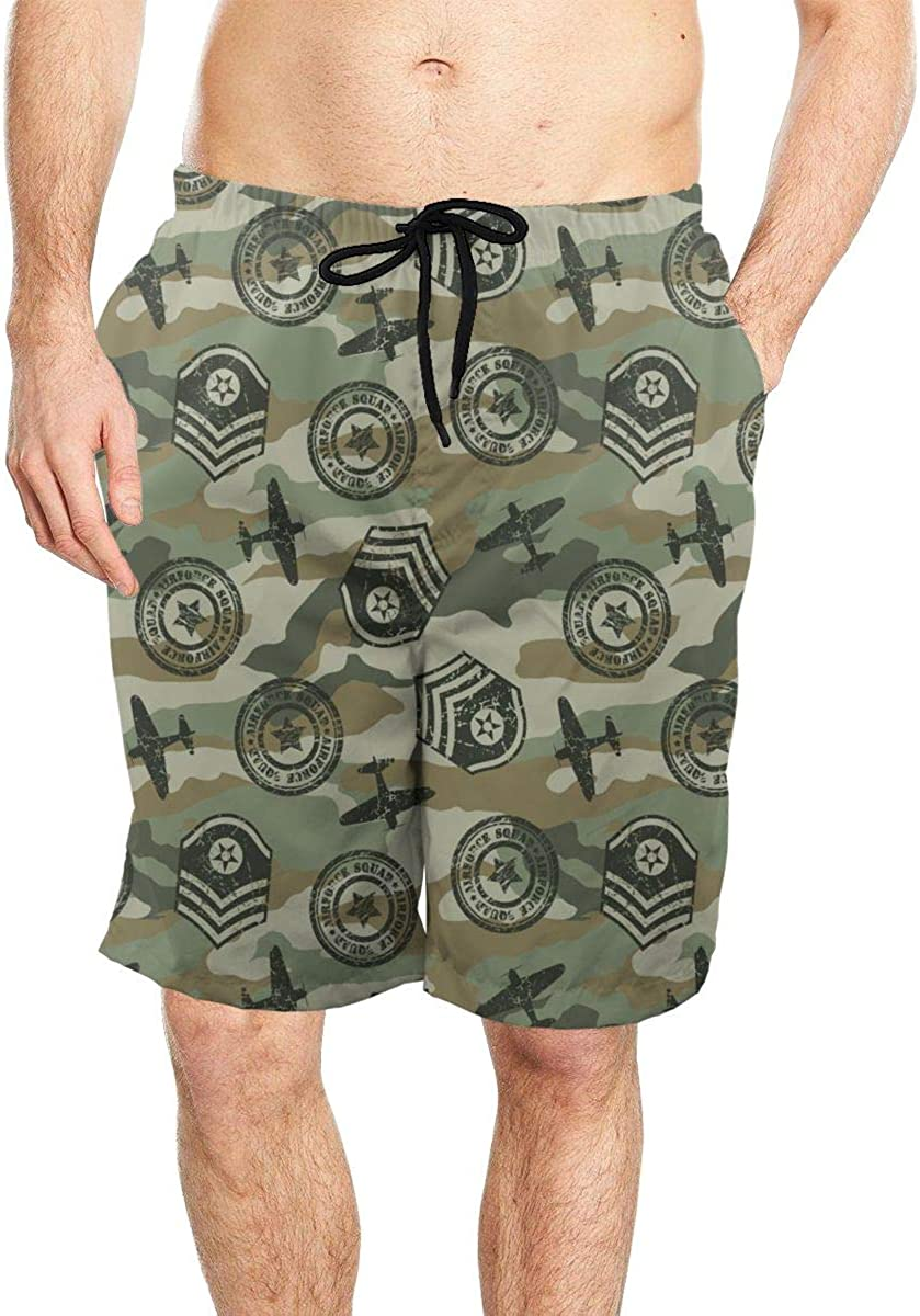 DASMUS Military Badges Pattern Mens Quick Dry Beach Board Shorts Swim Trunks with Mesh Lining