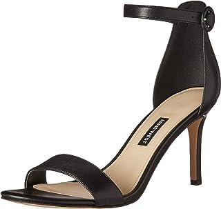 NINE WEST Women's Fashion Sandal Heeled, Black, 9.5 M US