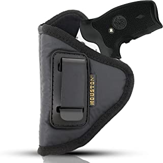 IWB Revolver Holster by Houston - ECO Leather Concealed Carry Soft Material | Suede Interior for Maximum Protection | Fits: Any 38 J Frames | S&W Revolvers | Charter Arms | Rossi 38 | Taurus BG LCR
