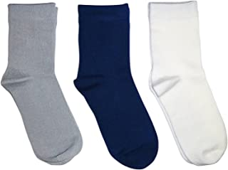 Kids (3 Pack) Comfort Seam Plain Color Bamboo School Socks