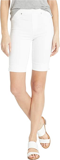 Soft Touch Denim Pull-On Bermuda w/ Side Slit in White