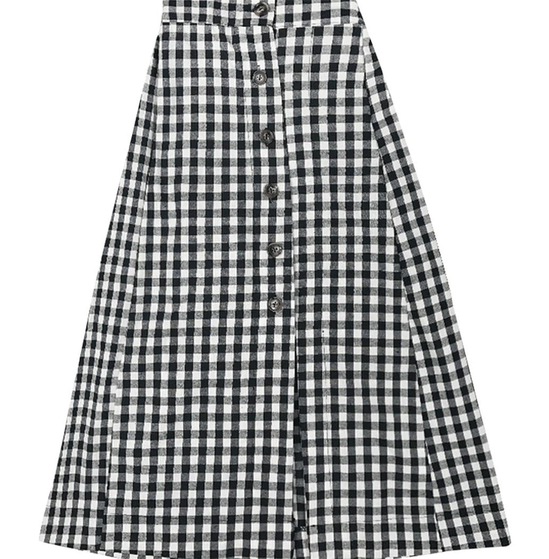 [美しいです]レディーススプリットカレッジヴィンテージチェックエラスティックハイウエストシフォンミッドラインAラインスカート