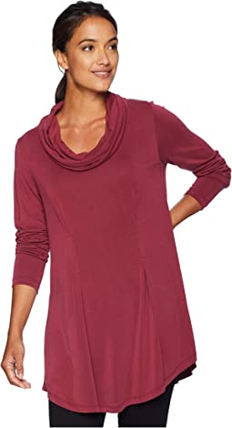 Sandwashed Modal Jersey Cowl Neck Pleat Detail Tunic