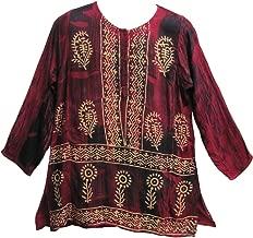 Mens Bohemian Indian Cotton Designer Kurta Tunic Block Print Shirt