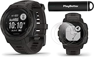Garmin Instinct (Graphite) Outdoor GPS Watch Power Bundle | with HD Screen Protector Film Pack & PlayBetter Portable Charger | Rugged, Waterproof | Heart Rate, TrackBack | Ultimate Outdoorsman Watch