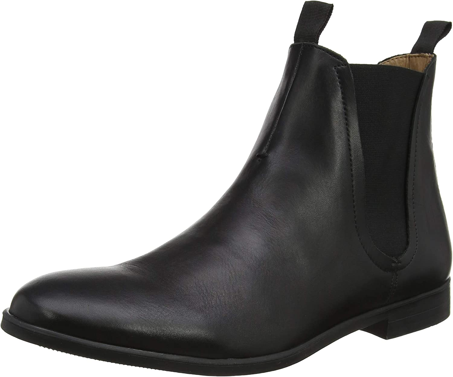 H By Hudson Mens Atherstone Leather Smart Work Office Ankle Chelsea Boot - Black - 11