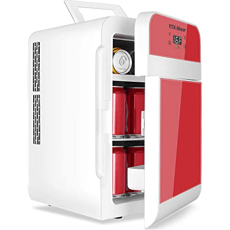 YITAMOTOR 20 Liter AC/DC Powered Double Door Portable Mini Fridge for Car, Home, Office, Bedroom,Dorm - Compact Refrigerator with Digital Temperature Control (Red)