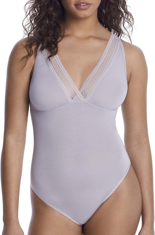 Reveal Flat Lace Modal Bodysuit, 3X, Platinum