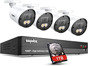 SANNCE Security Surveillance Camera System with Color Night Vision,8CH CCTV System and 4xTrue 1080P Outdoor Indoor Camera with LED Spotlight, Smart Motion Detection and 1TB Hard Drive Included